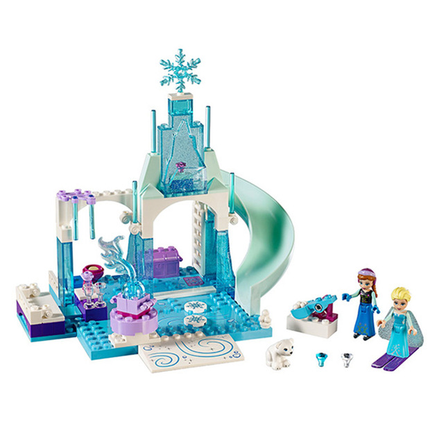 Princess Anna Elsa Snow Queen Elsa's Sparkling Ice Castle Building Blocks Brick Toys For Girls Compatible with friends lepin 01018 snow queen princess anna elsa building block 515pcs diy educational toys for children compatible legoe