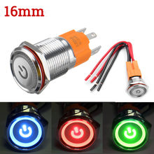16 Mm 3000W Logam Annular Push Button Switch Cincin LED 12 V/24 V Diri Kunci Sesaat menempel On-Off Tahan Air Mobil Otomatis Mesin(China)