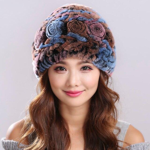 Ruso sombrero de Invierno de punto Gorro de piel de las mujeres natural rex rabbit fur hats # H9007