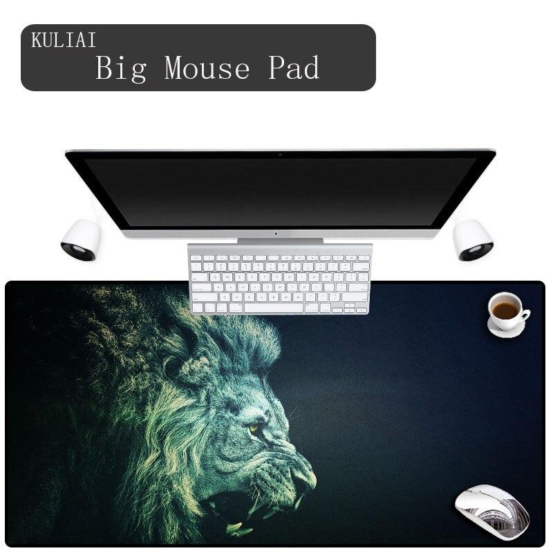 KULIAI Noir Lion Grand Gaming Mouse Pad De Verrouillage Bord De Souris Speed/Contrôle Tapis de Souris pour CS Ligue GO de jambe Dota 11 Taille Tapis