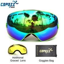 COPOZZ brand professional ski goggles 2 double lens anti fog weak light anti fog spherical skiing