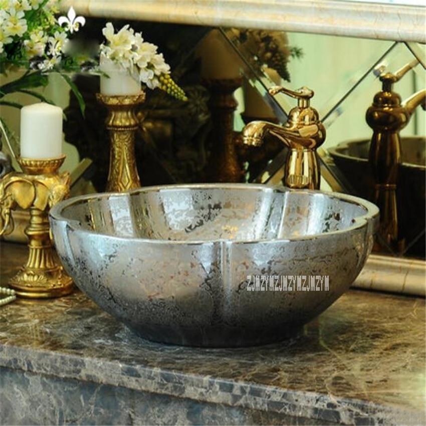 Style européen en céramique au-dessus du comptoir bassin salle de bain lavabo de haute qualité Art ménager salle de bain évier bassin de comptoir yins230