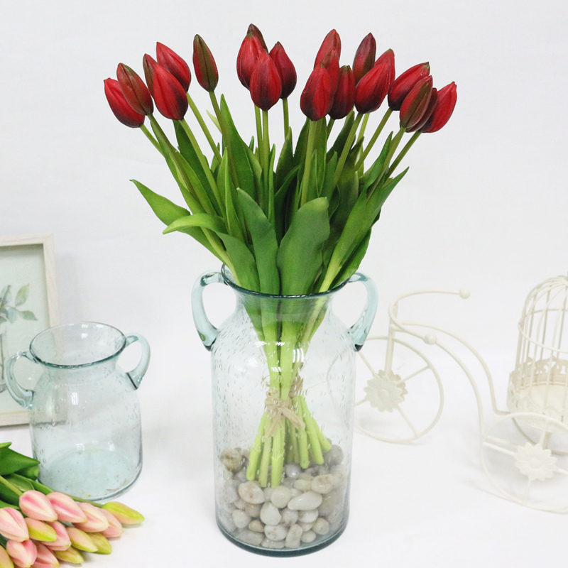 JAROWN Simulation Of Real Tactile Tulip Artificial High Quality Latex Tulip Bouquet Flores For Wedding Decoration Home Decor (5)