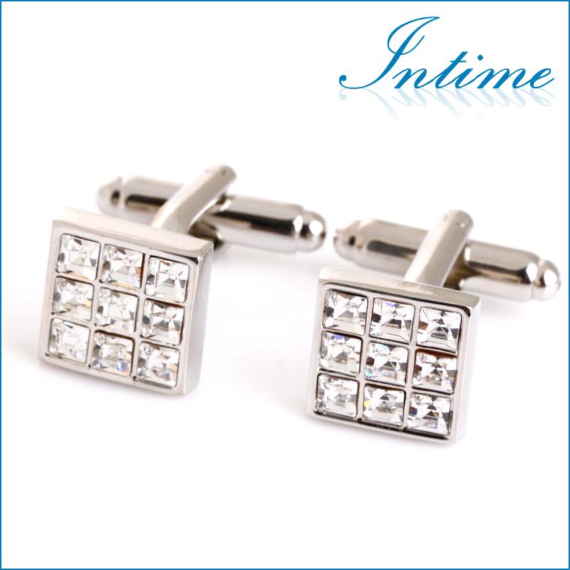 Elegant Transparent   rhinstone cuff links silver ...