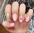 Fashion Bow Fake Nails 3d French Faux Ongles for Nail Display Gold Pink Color Etagere Free Glue 20pcs/pack XCP