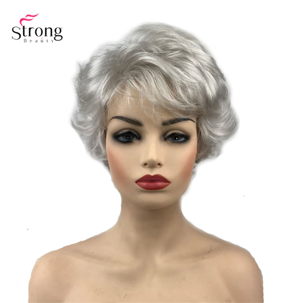 StrongBeauty Synthetic Wig Short Curly Hair Black/White Wigs Women's