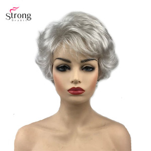 Image 1 - StrongBeauty Synthetic Wig Short Curly Hair Black/White Wigs Womens