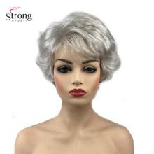 Strongbeauty 합성 가발 짧은 곱슬 머리 검정/흰색 가발 여성