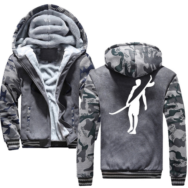 Surf Sports 2019 Winter New Tracksuit Men Fashion Thicken Velvet Casual Hooded Warm Thick Hoodie Solid 5