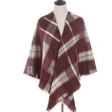 2019 new winter women scarf plaid fashion cashmere scarves square lady shawls and wrap big size pashmina female foulard