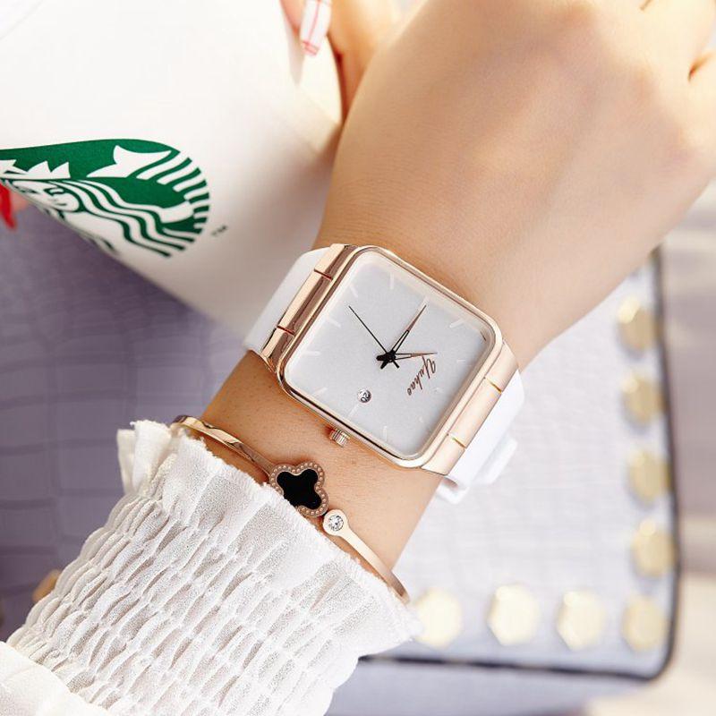 2017 New Luxury Quartz Brand Lady Watches Women Rose Gold Square Casual Leather Dress Wrist watch Relogio Feminino Montre