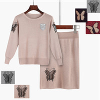 Women's Autumn Winter clothes knitted sweater skirts suits Female embroidery long sleeve tops and Skirt 2 piece sets NS135