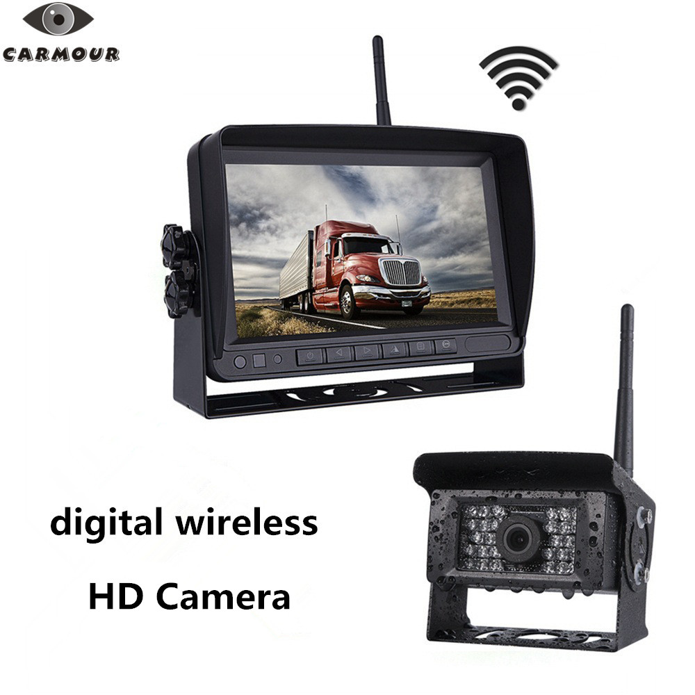 CARMOUR Kit système de caméra de recul numérique sans fil IP69 caméra de recul étanche HD + moniteur de recul sans fil LCD 7