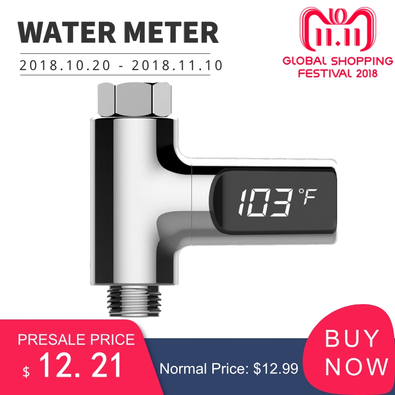 LED Display Fahrenheit Home Water Shower Thermometer Flow Self-Generating Electricity Water Temperture Meter