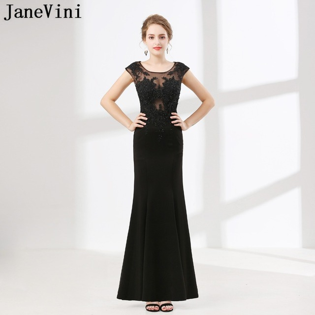 JaneVini 2018 Lace Appliques Ladies Bridesmaid Dresses Long Beaded Mermaid  Black Maid of Honor Dresses Sheer Wedding Party Gowns da582628614a