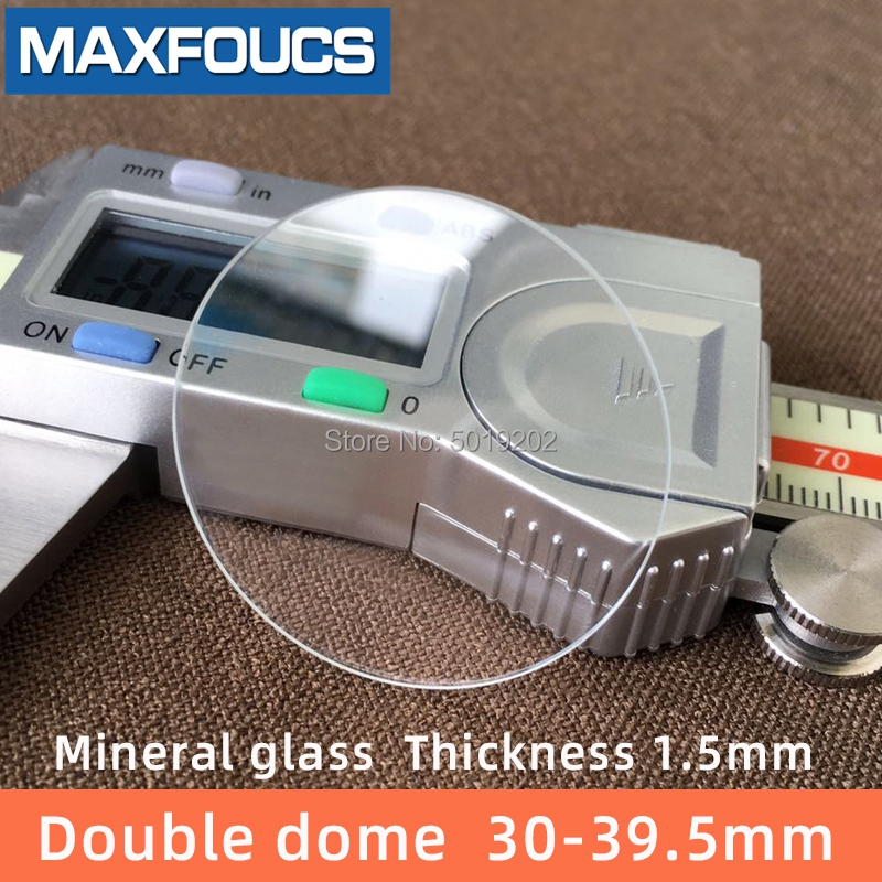 Watch Glass  Mineral Glass Double Dome Thick 1.5mm Diameter 30mm~ 39.5mm Transparent Crystal Watch Accessories Replacement Part