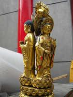 Shitou 002637 Tíbet Fane Bronce gild Tres Cara Sakyamuni Kwan-yin Bodhisattva estatua de Buda