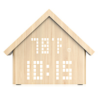 Loskii HC 188 Multifunctional Log Cabin LED Digital Alarm Clock Voice Control Wooden Time Temperatur