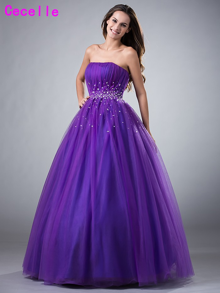 Glamorous Purple Ball Gown Tulle Prom Dresses Strapless Beaded ...