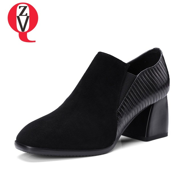 épais Haut Toe Leather Toe Pumps New Zvq Women Talon wfq08g1W