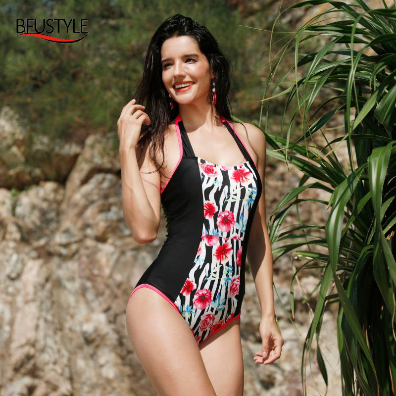 125585f384e1f BFUSTYLE New Patchwork Halter Sexy Women One Piece Bikini Sets Swimwear  Swimsuit Biquini Beachwear Flower Print