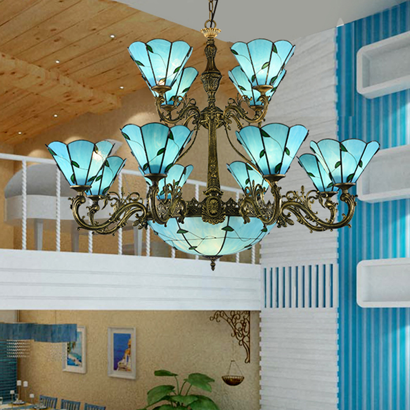 Mediterranean lamp with sky blue lampshades up/down,retro chandelier,Tiffany style stained glass iron lights living bedroom lamp lampshade