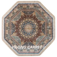 Yilong 9'x9' Turkish silk carpet round handmade exquisite oriental round tabriz rug (1598)