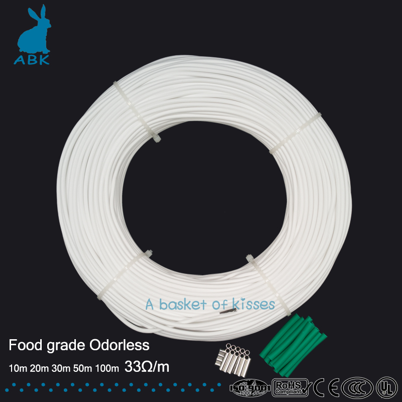 12 k 33ohm inodoro no tóxico alto rendimiento hidrogenado caucho de fibra de carbono calefacción cable de goma cable de calefacción alambre