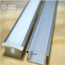 10 unids/lote 2 m/unids perfil de aluminio, guía de luz incrustada doble fila perfil para tira de led, cubierta lechosa/transparente con accesorios