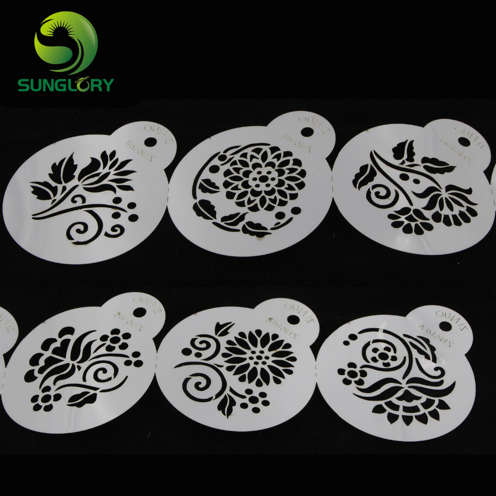 Small 6pcs flowers cake tools fondant decor stencil for Decor 6 template