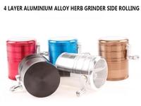 Grand Grand Grinder Weed Dia63MM 4 Niveaux En Alliage D'aluminium concasseur Côté Roulant pour Fumée Pipe En Verre Pipe À Eau Narguilé Shisha