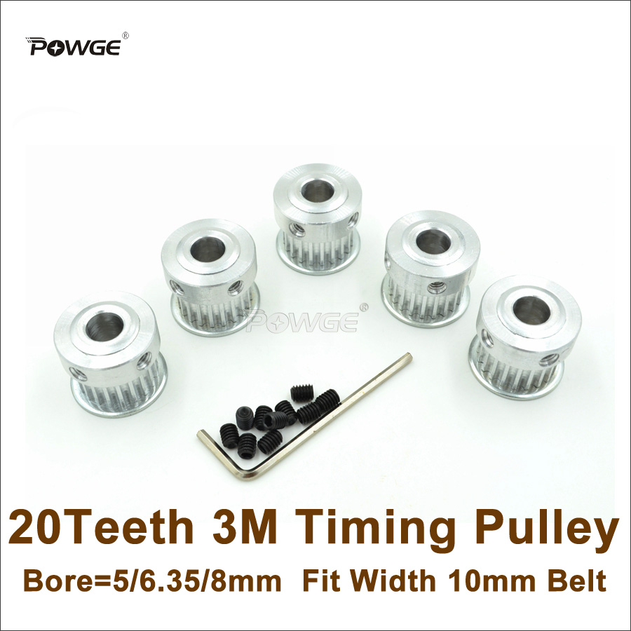 5pcs 3D printer Timing pulley 16//20Teeth Bore 5//6//6.35//8mm for width 6//10mm belt