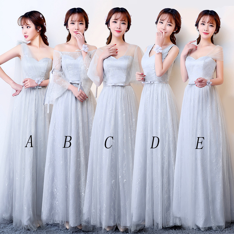 Mingli Tengda Simple Lace Bridesmaid Dresses One Shoulder Long Dress For Wedding Party For Women Sweetheart Wedding Guest Dress