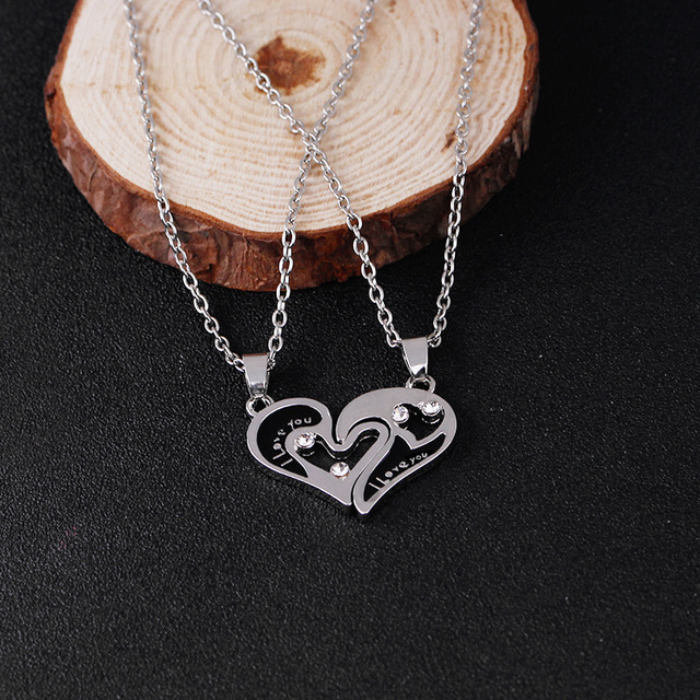 403dfe1e3 fashion drops necklace best friends I love you Two hearts couple  girlfriends pendant forever Valentine's Day
