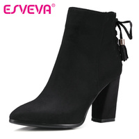ESVEVA 2016 Western Style Zipper Autumn Shoes Women Square High Heel Black Ankle Boots Women Concise