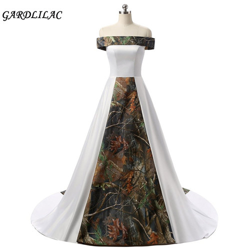 Adaptable Gardlilac Stain Camo White Ball Gown Wedding Dress Court Train Boat Neck Wedding Gowns Vestido De Novia Real Photo Fixing Prices According To Quality Of Products