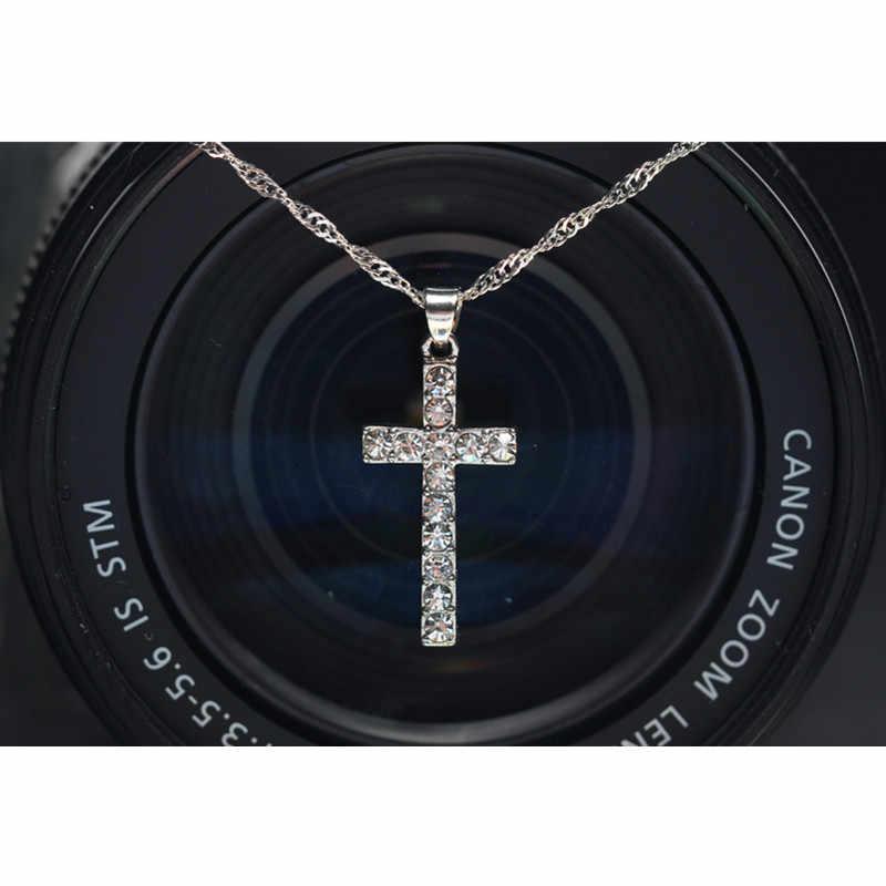 X307 Collier New Fashion posrebrzany krzyż naszyjniki dla kobiet akcesoria dla mężczyzn biżuteria prezent w sprzedaży hurtowej