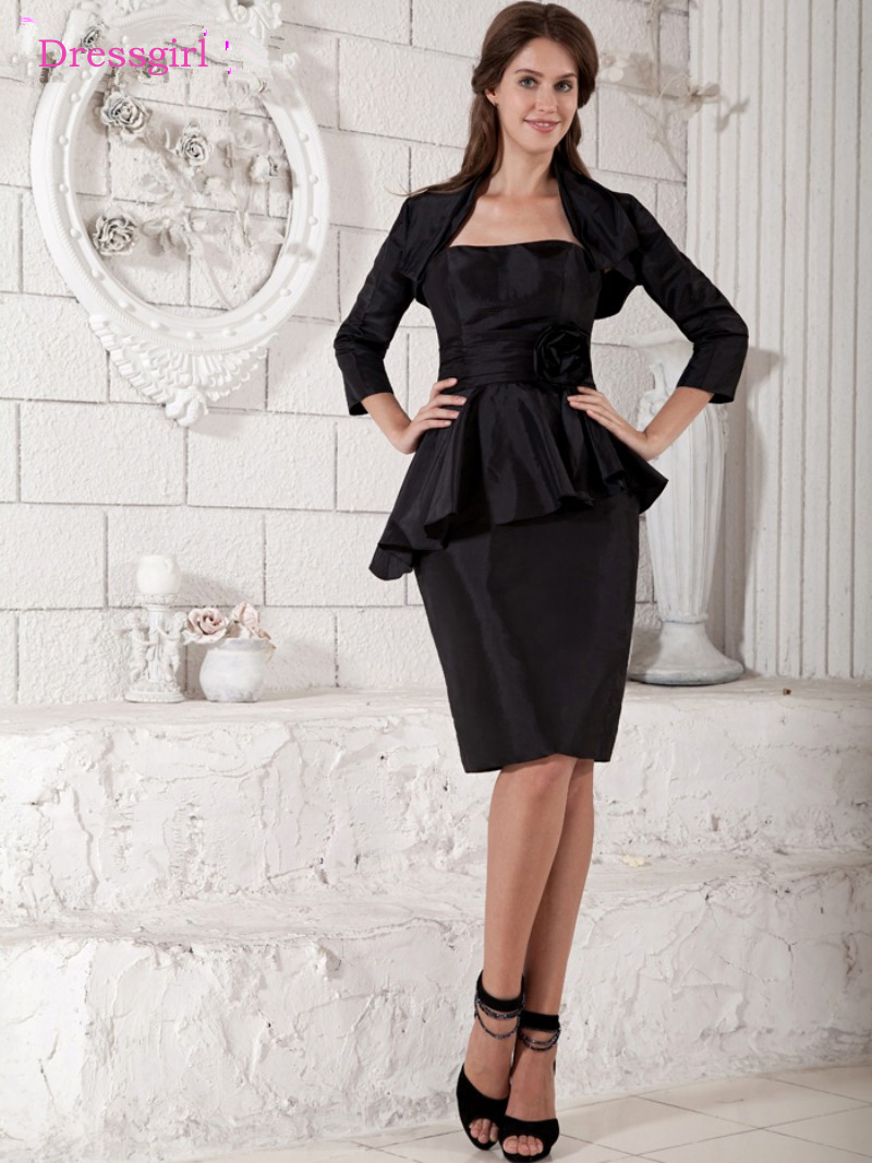 Black 2019 Mother Of The Bride Dresses Sheath Taffeta Knee Length Plus Size Short Elegant Groom Mother Dresses Wedding