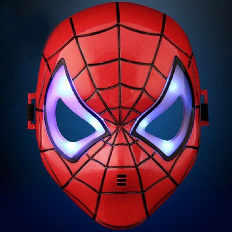 Мстители паук Косплэй свет маска игрушки Хэллоуин вечерние Show супергероя Человек-паук аниме Рисунок игрушка детей подарок на день рождения