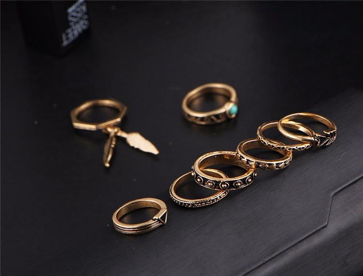 HTB1dtAzOFXXXXaXapXXq6xXFXXXw Women 8-Pieces Gold Tone Retro Antique Punk Style Spirituality Lucky Knuckle Ring Set