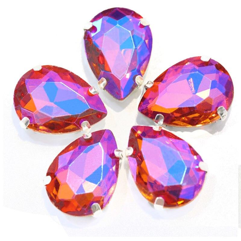 5 размеров красочные стеклянные хрустальные серебряные коготь пришивные стразы с коготь капли воды красные Пришивные коготь стразы для одежды B0403