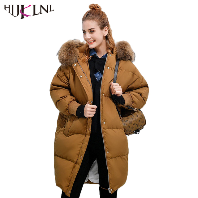 19532d053c68 HIJKLNL Raccoon Fur Hood Long Puffer Jacket Women Winter Thick Down Jacket  Boyfriend Batwing Sleeve Duck Down Coat Parka NA241