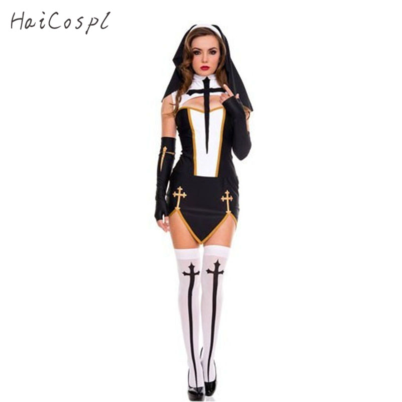 Easter Sexy Nun Costume Adult Women Halloween Cosplay Fancy Girl Sister Party With Stockings Hoodie