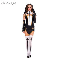 Sexy Nun Costume Adult Women Cosplay With Black Hoodie For Halloween Sister Cosplay Party Costume