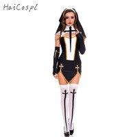 Wielkanoc Fantazyjne Zakonnica Kostium Dla Dorosłych Kobiet Cosplay Z Siostra Pończochy Czarny Kaptur Na Halloween Cosplay Party Sexy Kostium