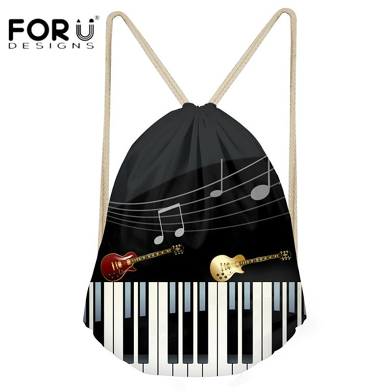 FORUDESIGNS Casual Men Small Drawstring Bags Music Notes With Piano Keyboard Men's Mochila Backpack For Kids Boys School Bags