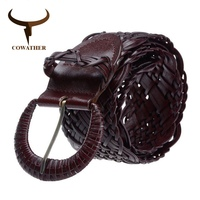 Summer Dress 2014 High Quality Cow Women Knitted Leather Belts For Women Strap Female Pin Buckle