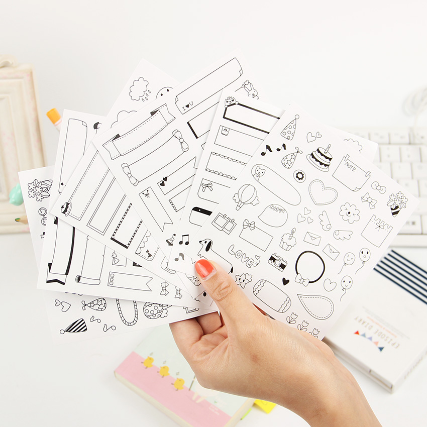 12 Sheets/lot Calendar Paper Sticker DIY Scrapbooking Diary Planner Sticky Post It Kawaii Stationery Sticker Office Supplies 45pcs lot cute petal decorative diy diary stickers post it kawaii planner scrapbooking sticky stationery escolar school supplies