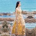 Playa de Estilo Bohemio Vestido de 2016 Del Verano Del Organza Elegante Estampado de Flores Apliques Sexy Con Cuello En V Sin Respaldo Correa de Espagueti Vestido de La Manera