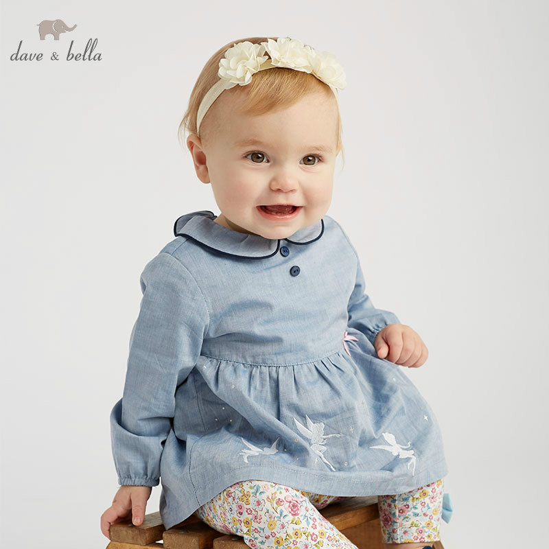 DBJ9669 dave bella spring baby fashion clothing sets girls lovely long sleeve suits children blue print
